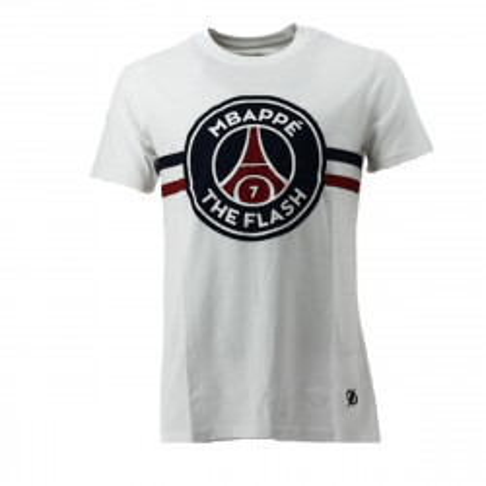 Tee-shirt PSG Justice League MBAPPE FLASH (Blanc) - PSG-TEE-SHIRT-MBAPPE-FLAS